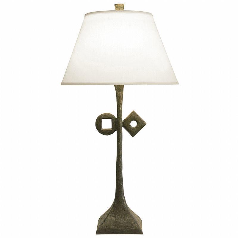 Natural patina finish / White linen lamp shade / With symbol