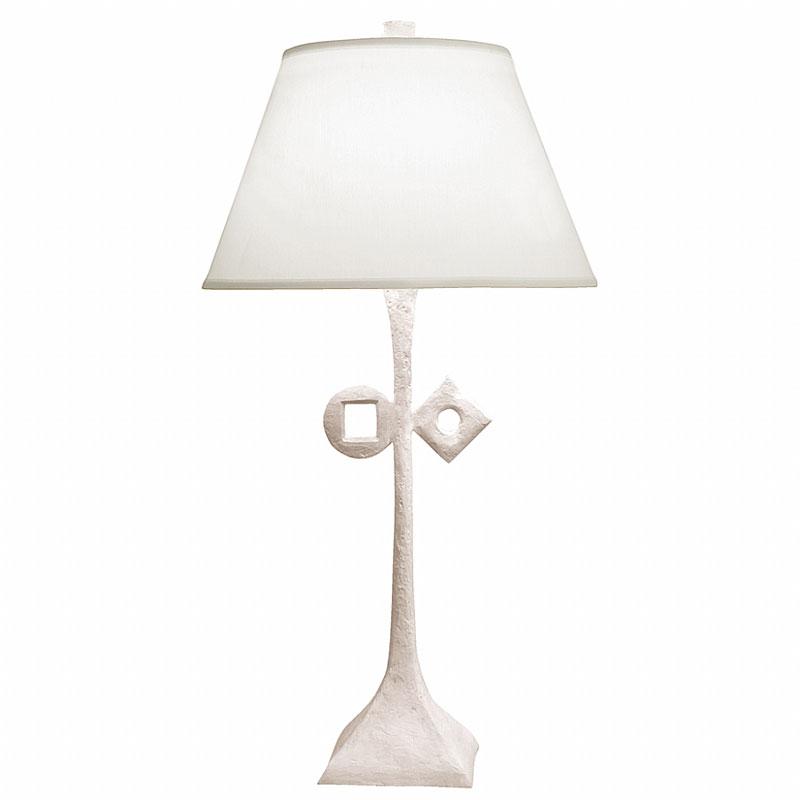 White patina finish / White linen lamp shade / With symbol
