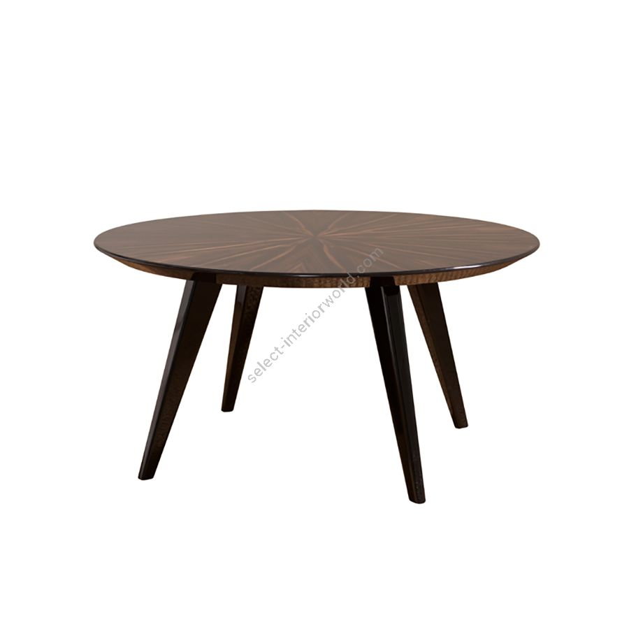 Coffee small table / Top makassar ebony veneer, ray disposed / Finish (legs) gloss black