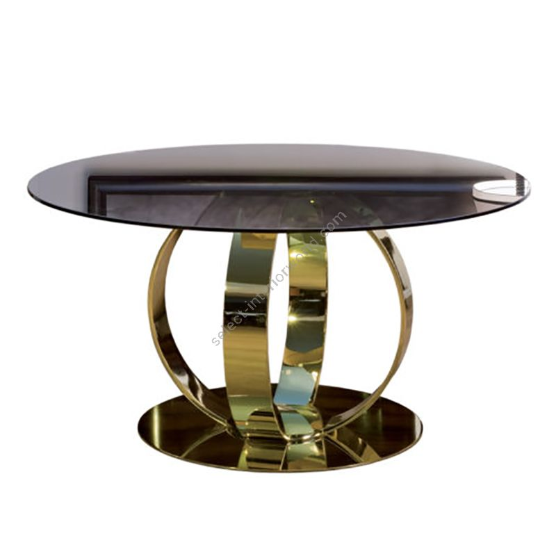 Finish Gloss brass plated, Top  Glass