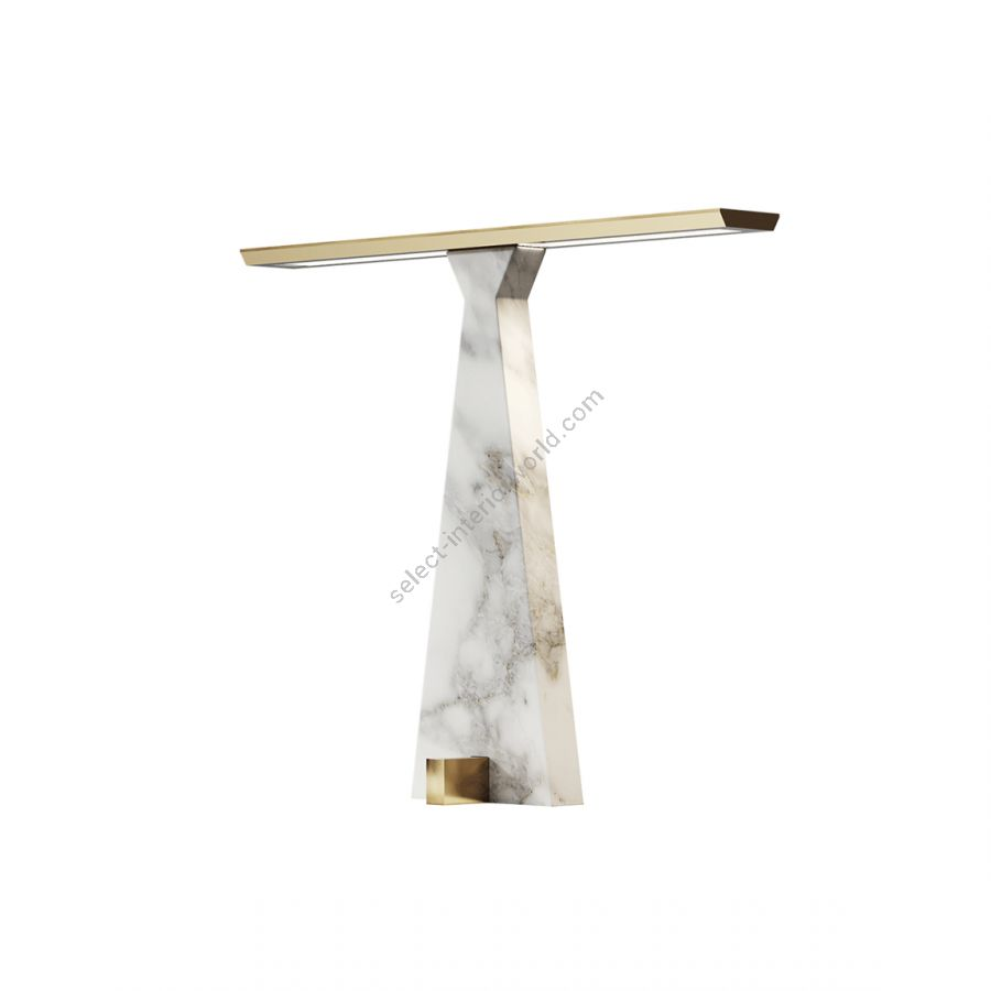 Table lamp / Brushed light gold finish / Gold Calacatta marble base