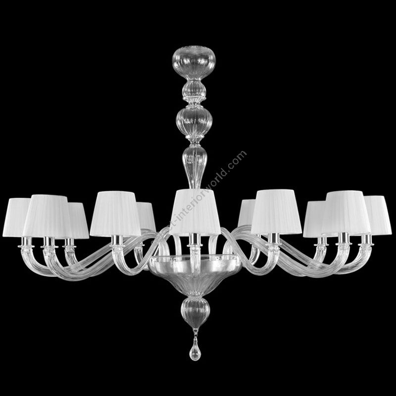 Nickel Finish / Clear Glass / White Lampshades