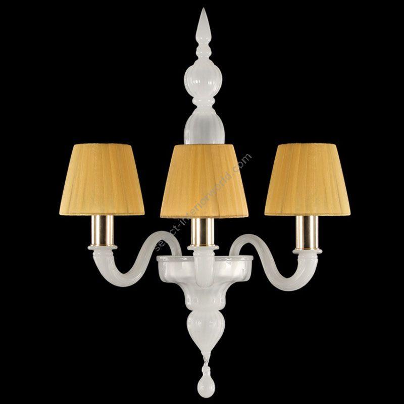 Gold Finish / White Silk Glass / Amber Lampshades