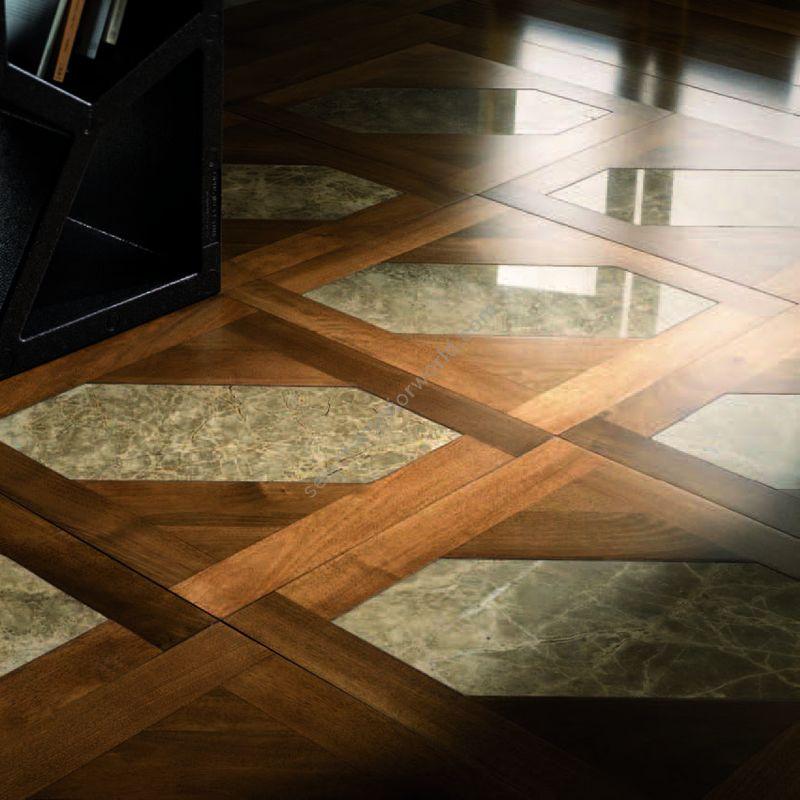 Wood Finish: Walnut; Marble Finish: Grey