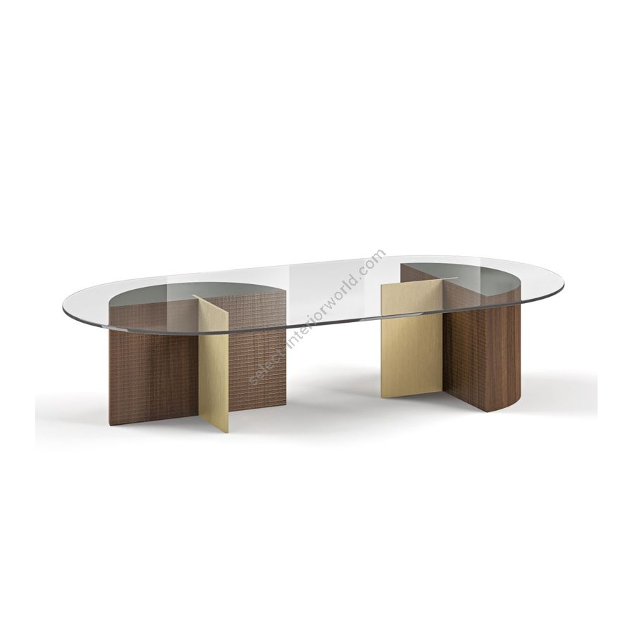 Coffee table / Wood base: CANALETTO HAVANA WATERSILK / Metal base: PALLADIO / Top: TRANSPARENT GLASS / Under-top: NCS 7502-Y GLOSS