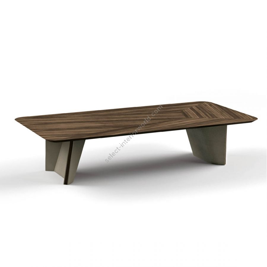 Coffee table / Synthetic leather: TAUPE / Top, base decoration: EUCALIPTO SMOKED WATERSILK