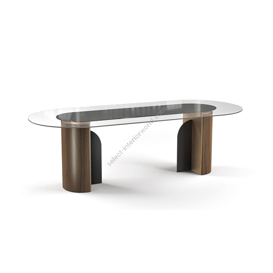 Dining table / Wood base: Canaletto Havana Watersilk / Metalbase: Muntz Metal / Under-top: RAL 9005 Gloss