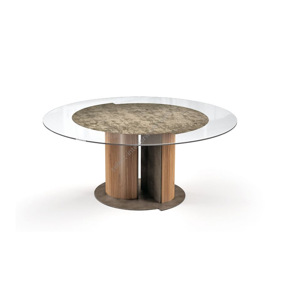 Dining round table / Wood base: Canaletto Natural Watersilk / Metal base: Peltrox chance / Under-top: Bronze ice matt
