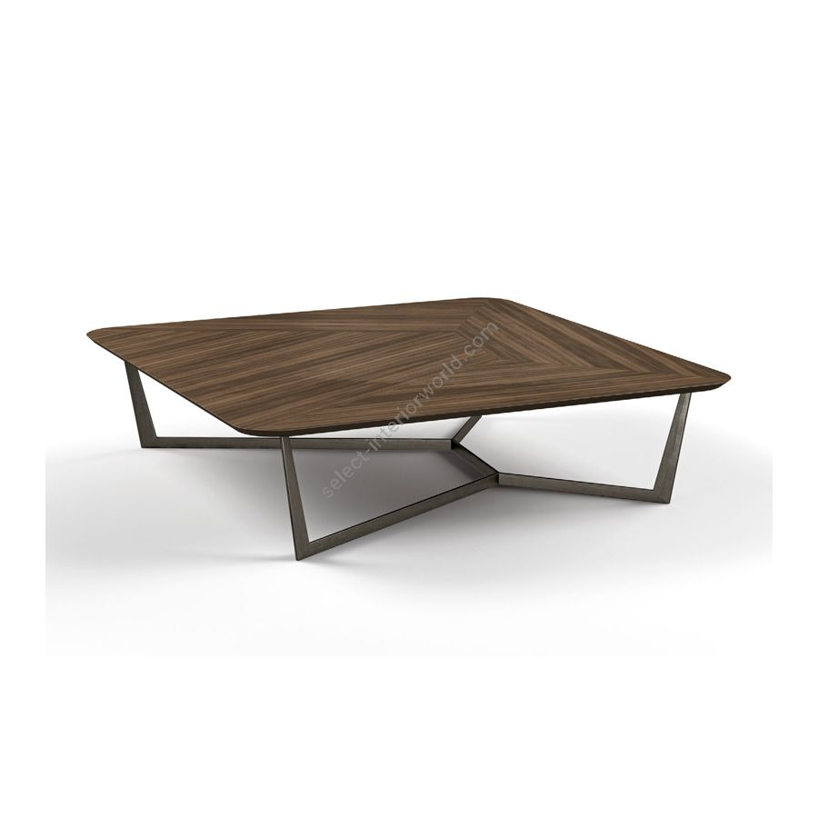 Coffee table / Metal base: GUN METAL / Top: EUCALIPTO SMOKED WATERSILK