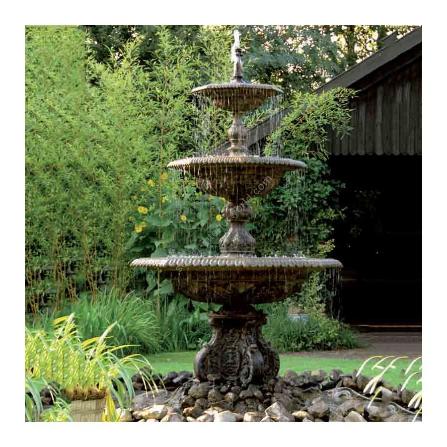 Huge ornamental fountain, three tier water fountain, for garden and yard, Patina finish