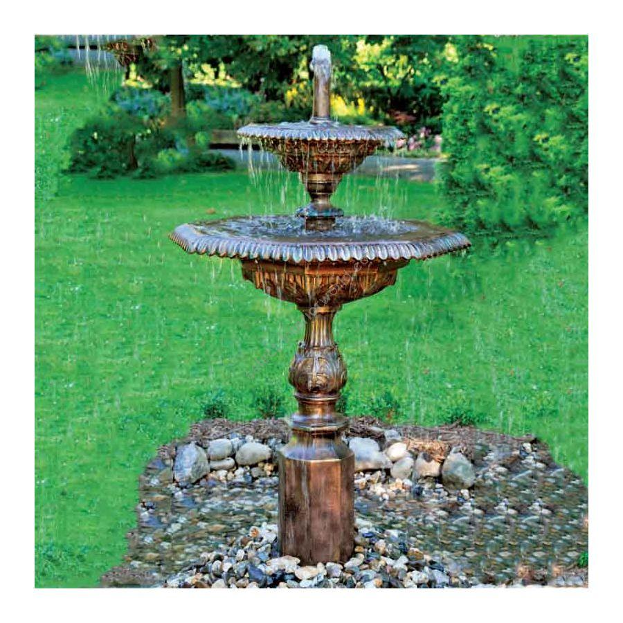 Outdoor ornamental fountain, Two tier garden fountain, Art Deco style,Patina finish