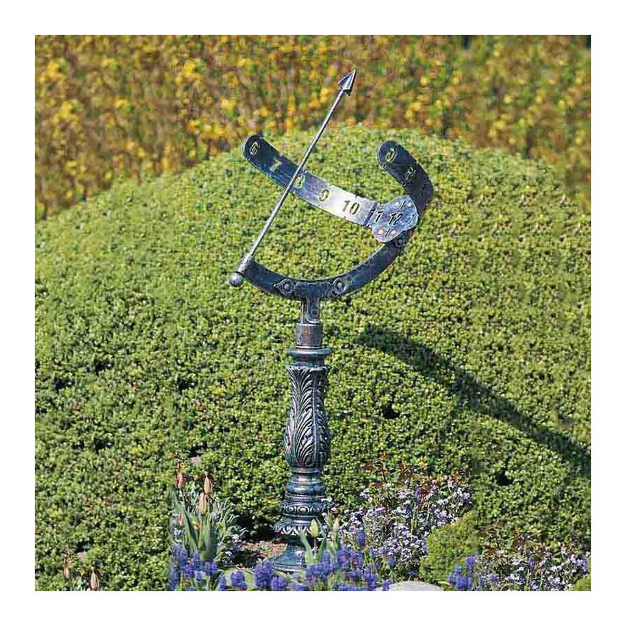 Sun-dial, handcrafted in wrought iron,  Antique green finish