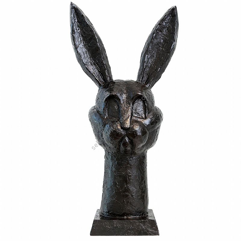 """Black / Brown patina finish / Bronze base in color of sculpture / cm.: 81.28 x 39.37 x 20.32 / inch.: 32"""" x 15.5"""" x 8"""""""