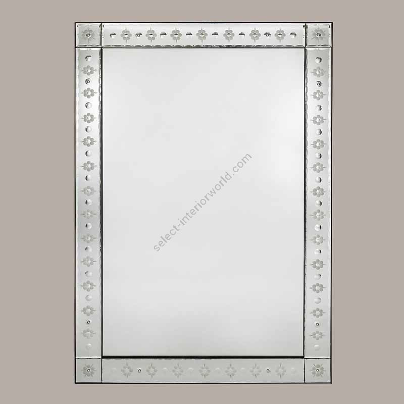 Mirror / Etched flower decoration on the frame