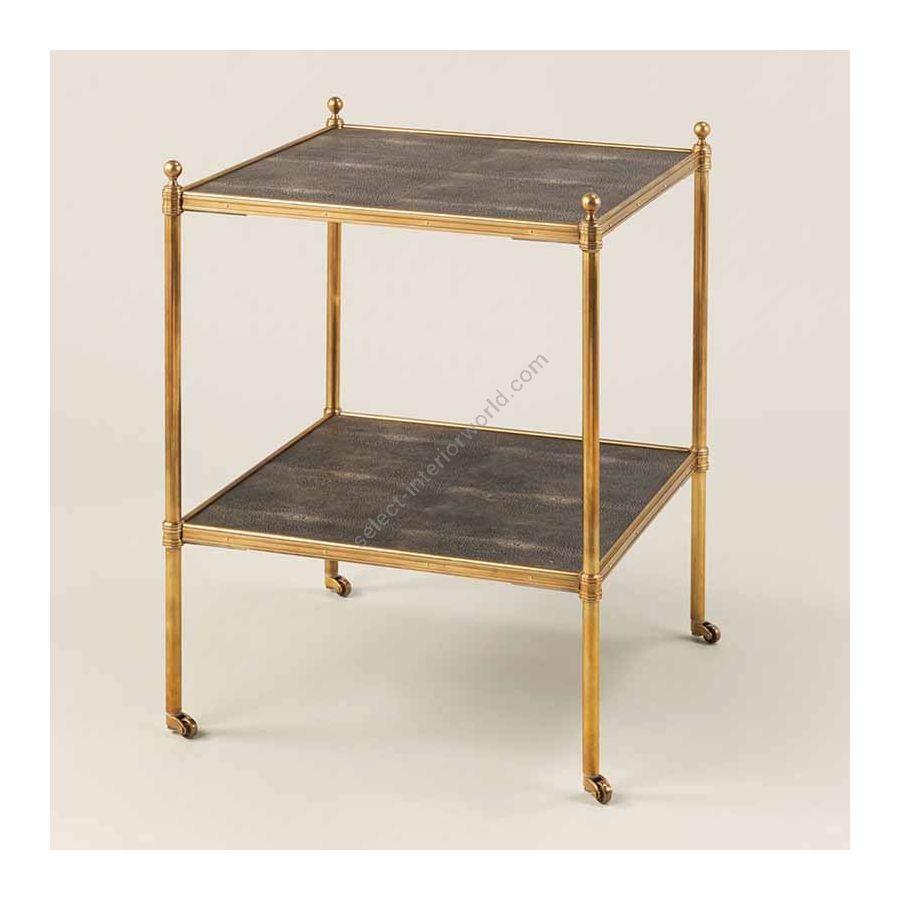 "Finish Brass, Top Brown Shagreen, cm.: 55.8 x 43.1 x 43.1 / inch.: 21.65"" x 16.92"" x 16.92"""