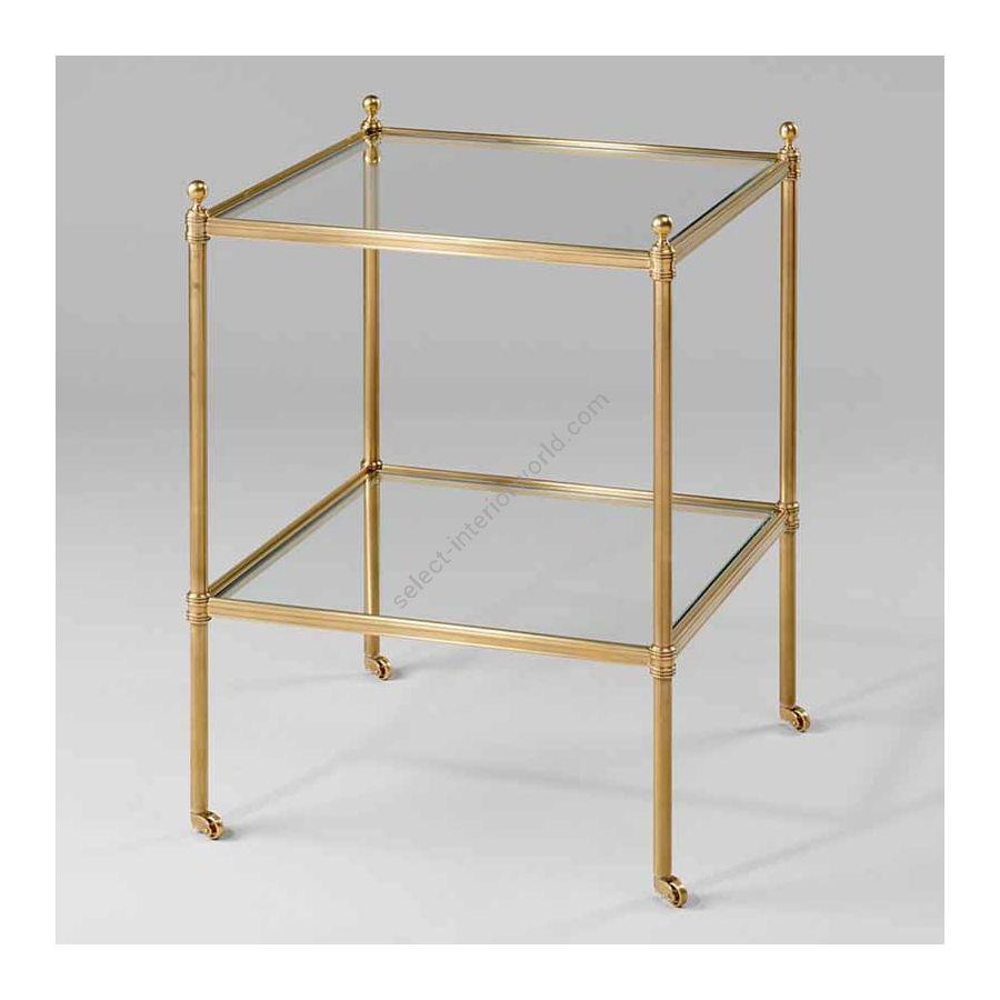 "Finish Brass, Top Toughened Glass, cm.: 70.5 x 43.8 x 43.8 / inch.: 27.55"" x 16.92"" x 16.92"""