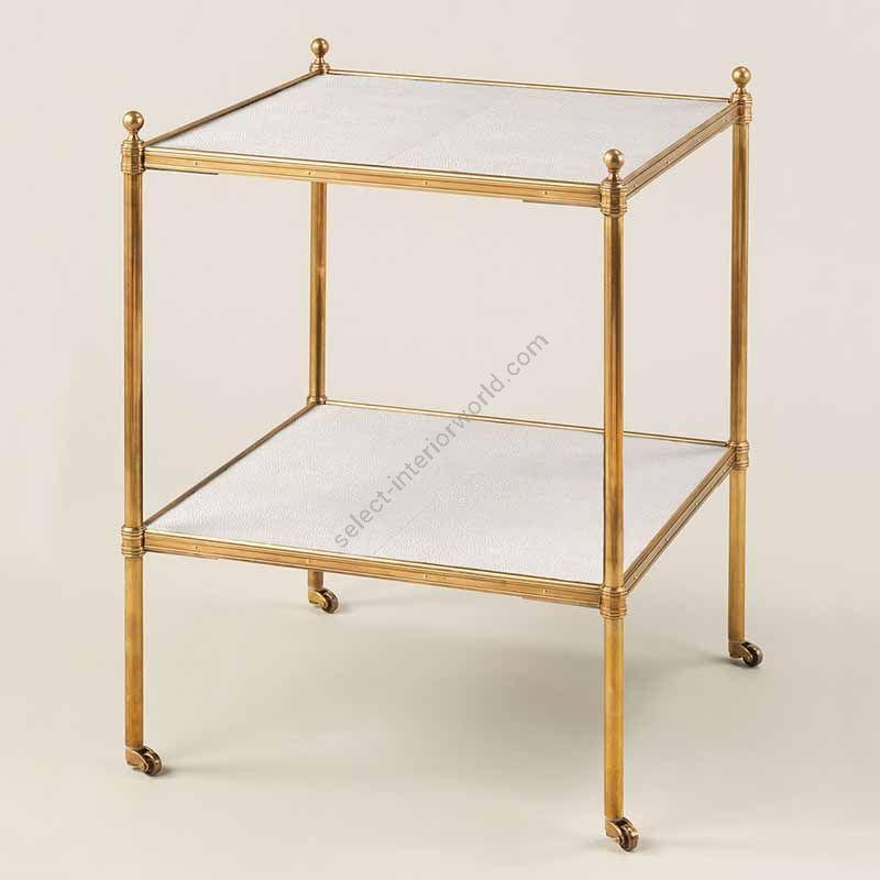 "Finish Brass, Top Ivory Shagreen, cm.: 55.8 x 43.1 x 43.1 / inch.: 21.65"" x 16.92"" x 16.92"""