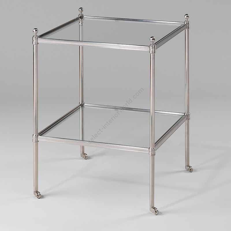 "Finish Nickel, Top Toughened Glass, cm.: 70.5 x 43.8 x 43.8 / inch.: 27.55"" x 16.92"" x 16.92"""