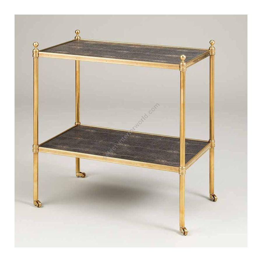"Finish Brass, Top Brown Shagreen, cm.: 58.4 x 50.8 x 31.8 / inch.: 22.89"" x 19.68"" x 12.20"""