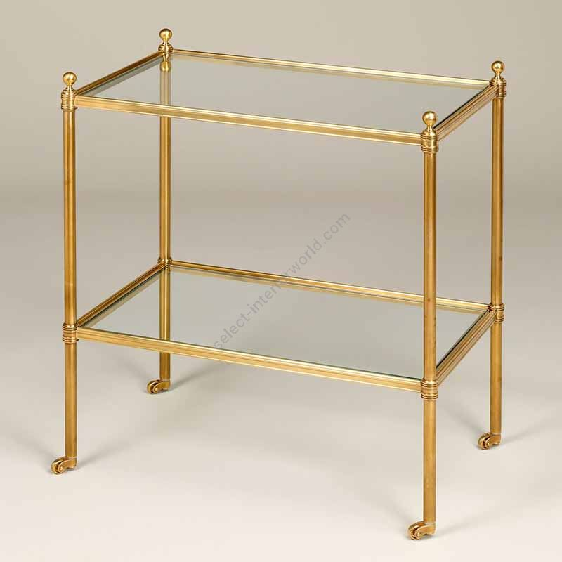"Finish Brass, Top Toughened Glass, cm.: 58.4 x 50.8 x 31.8 / inch.: 22.89"" x 19.68"" x 12.20"""