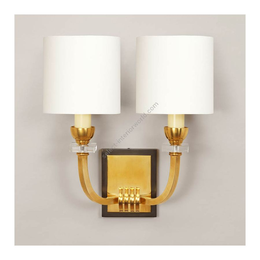 Brass finish / Cream Silk lampshades