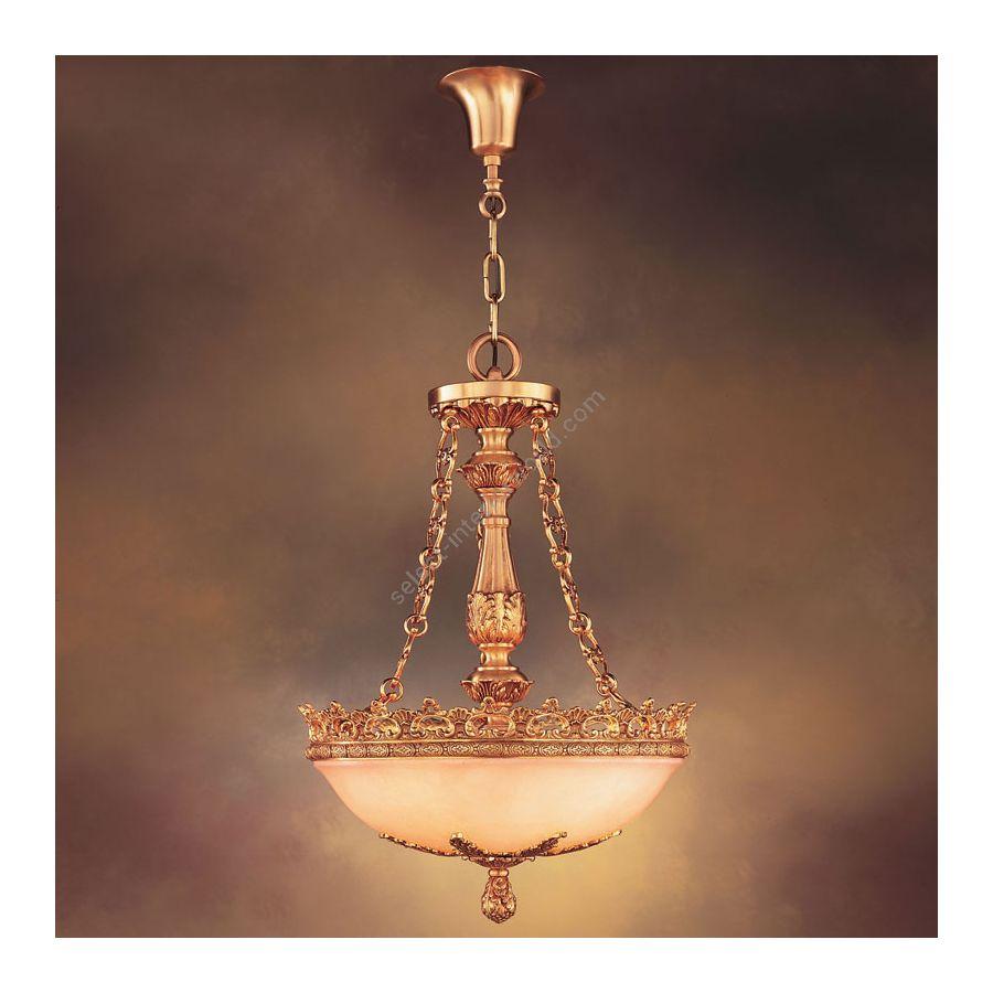Pendant lamp / French Gold finish / White Alabaster bowl