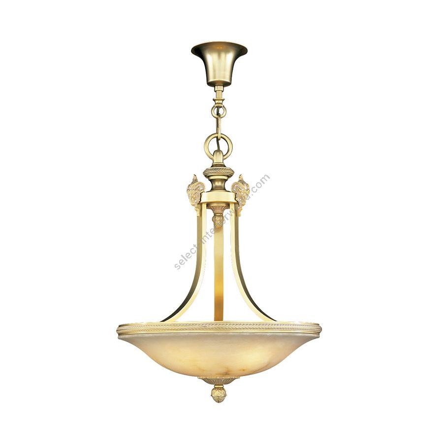 Pendant lamp / French Gold White Patine finish / White Alabaster lampshade