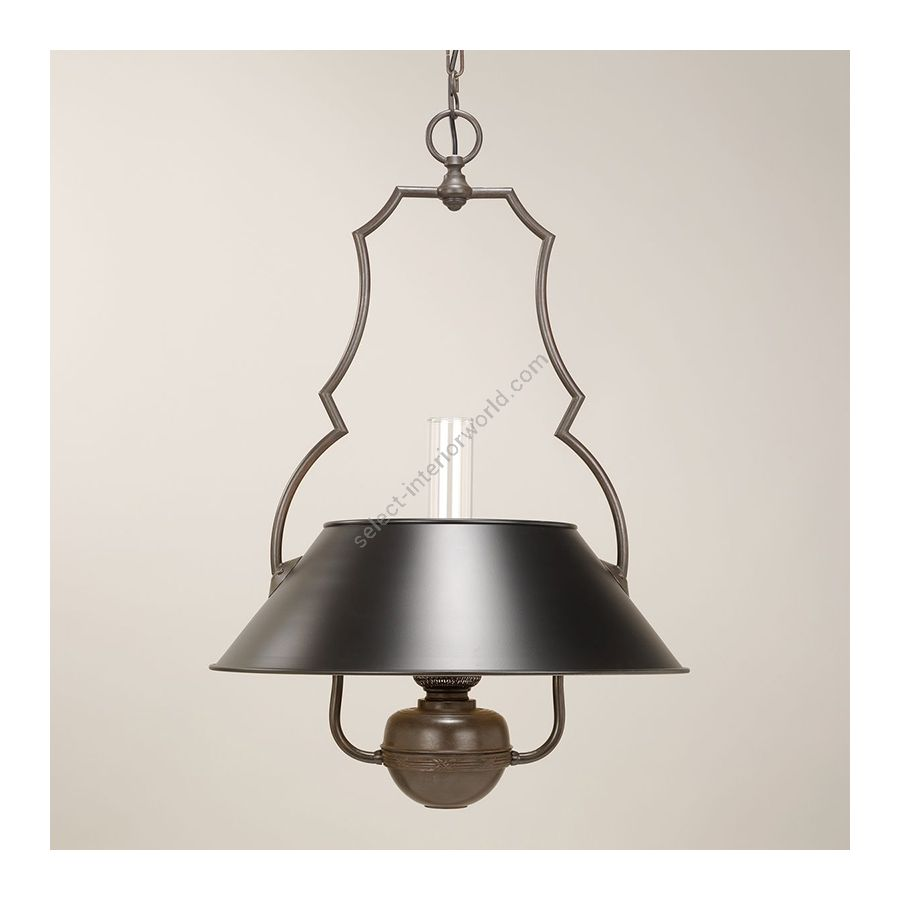 Hanging led lamp / Bronze finish / Black painted lampshade / Supply voltage: 100-120 Volts