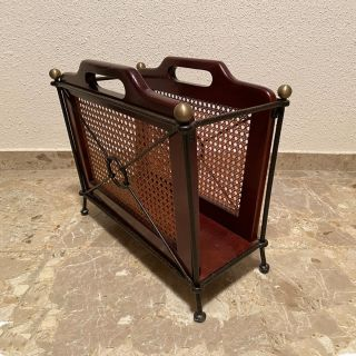 Wrought iron magazine rack and wood, vintage design / Grange Made in France / Showroom sample