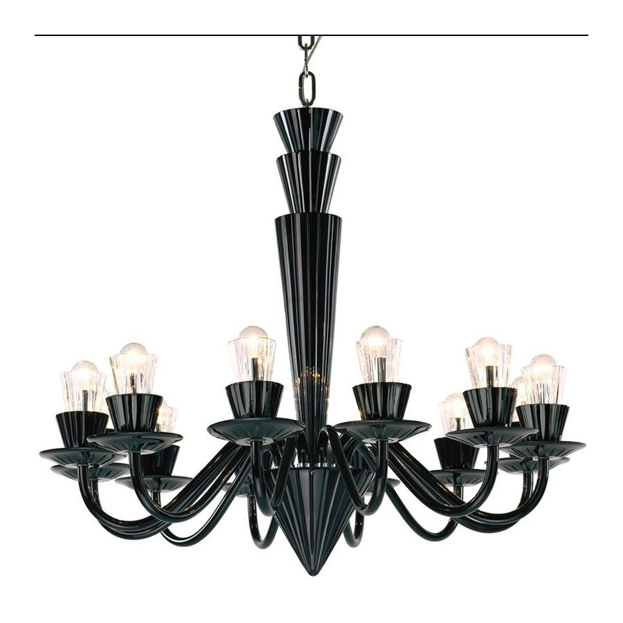 "Black Hyalit glass color, 12 lights (cm.: 80 x 90 x 90 / inch.: 31"" x 35"" x 35"")"