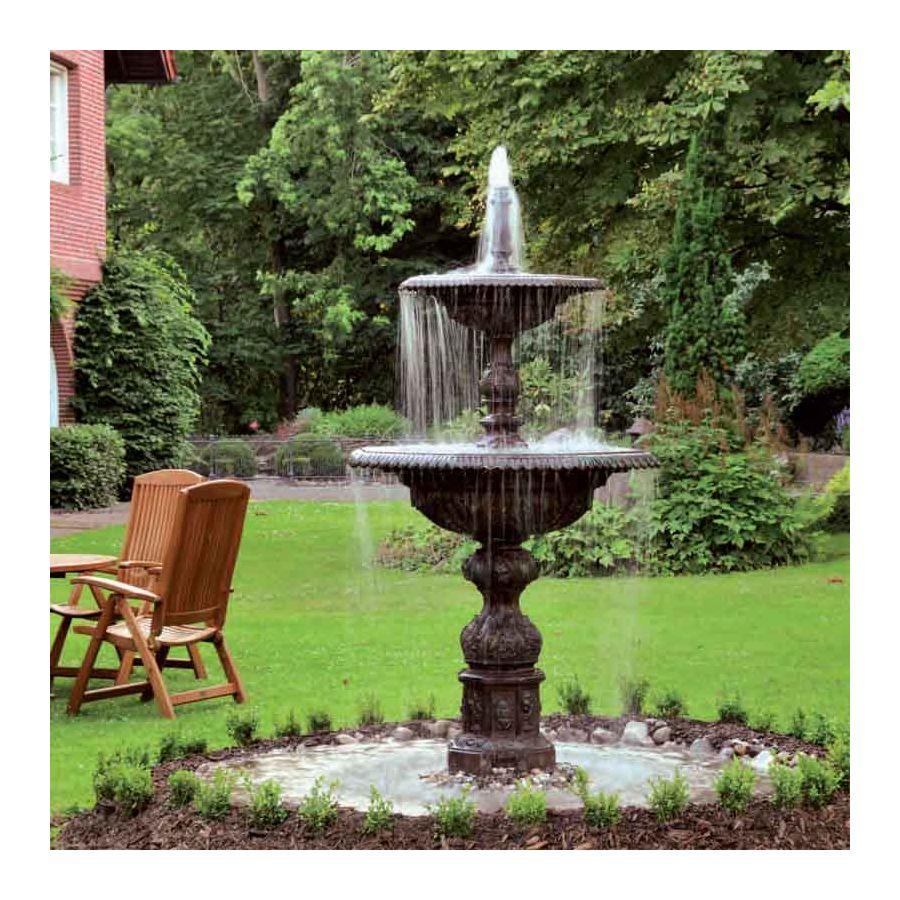 Large ornamental fountain, Garden fountain, Water fountain,  made of cast aluminium and steel, Patina finish