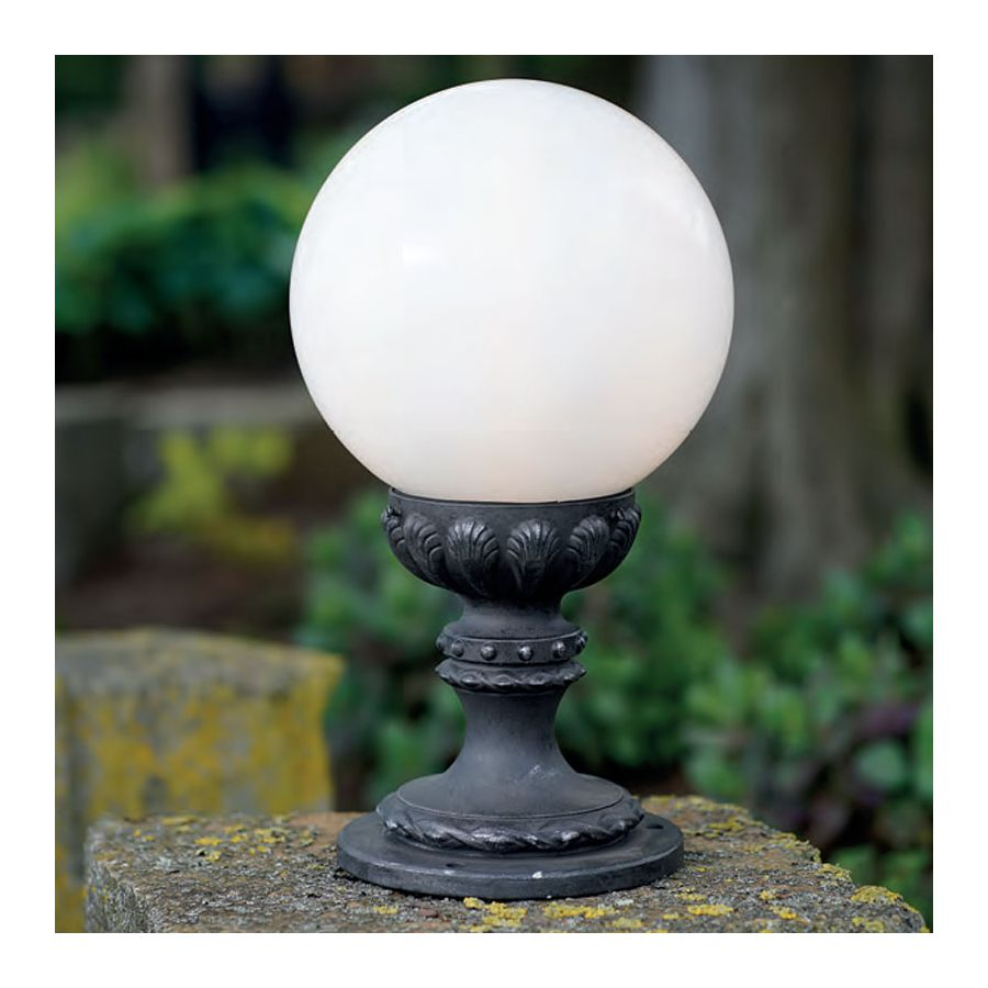 Outdoor pedestal lamp, water-resistant, made of wrought iron, Iron nature finish