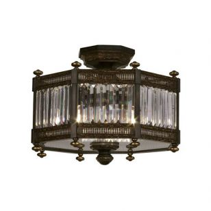 Fine Art Lamps / Semi-Flush Mount by Collection EATON PLACE 584640 in bronze color / Showroom sample in Stock.
