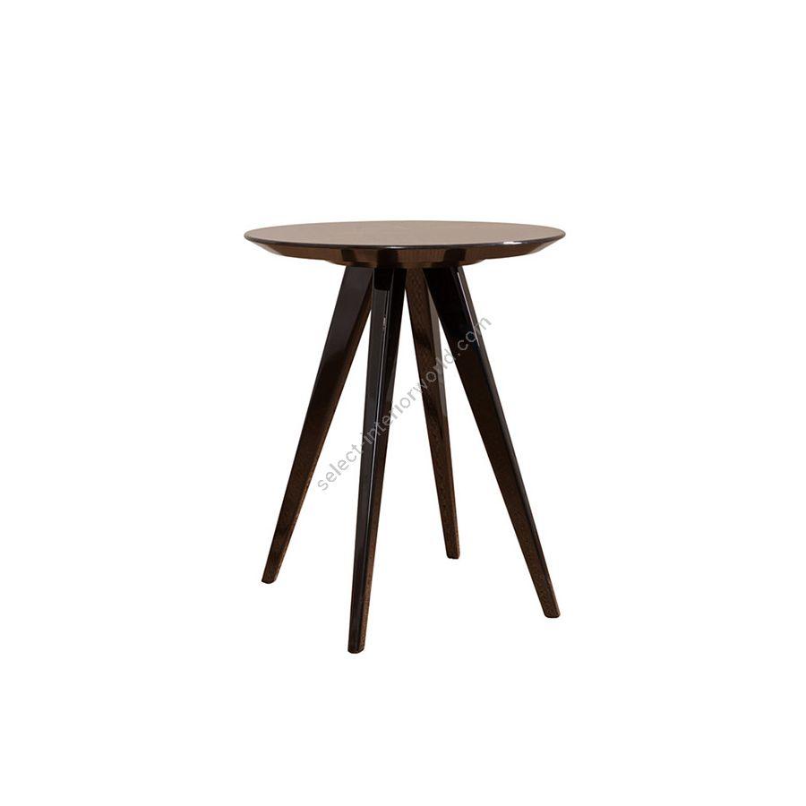 Side table / Top makassar ebony veneer, ray disposed / Finish (legs) gloss black