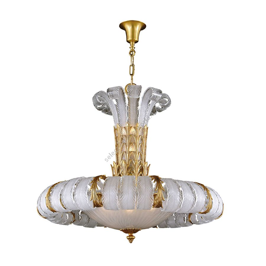 Chandelier / French Gold finish / White glass