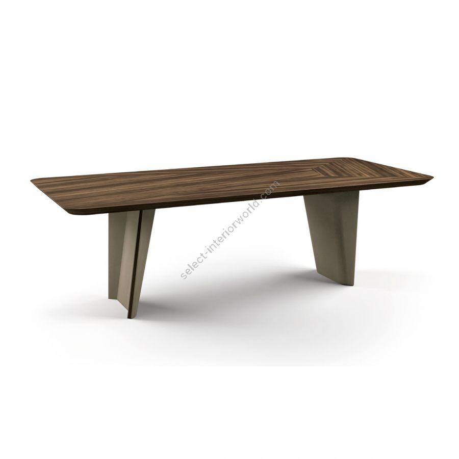 Dining table / Synthetic leather: Taupe / Top, base decoration: EUCALIPTO SMOKED WATERSILK