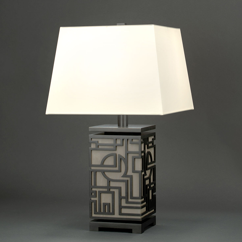 Blackened Brass finish with Grey Cerused Oak wood and Warm White Silk lampshade