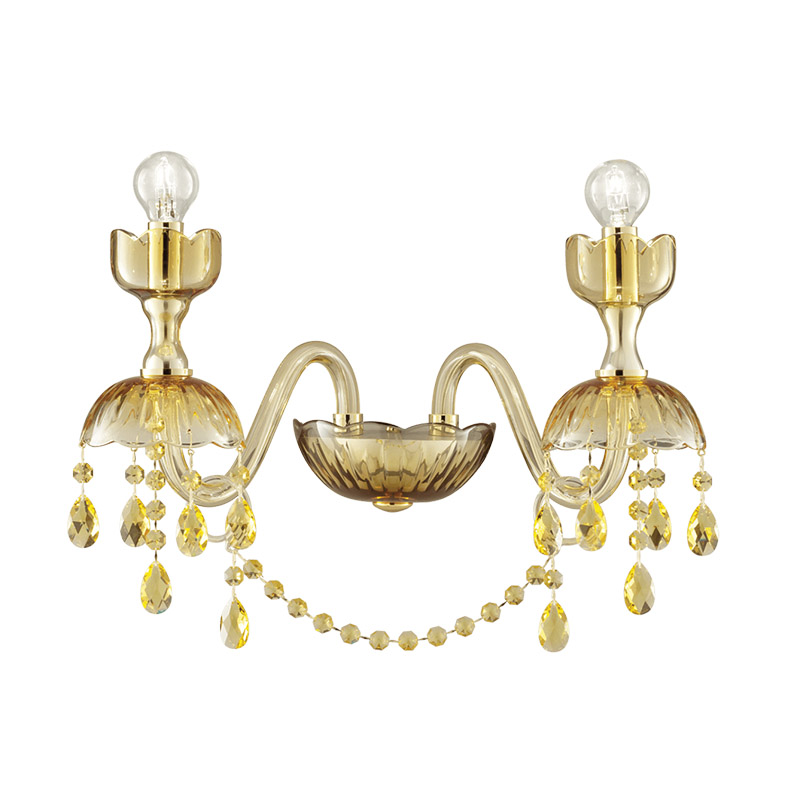 "Shiny Gold finish / Amber glass / SW®E Light Topaz pendants / 2 lights (cm.: 30 x 32 x 26 / inch.: 11.81"" x 12.60"" x 10.24"")"