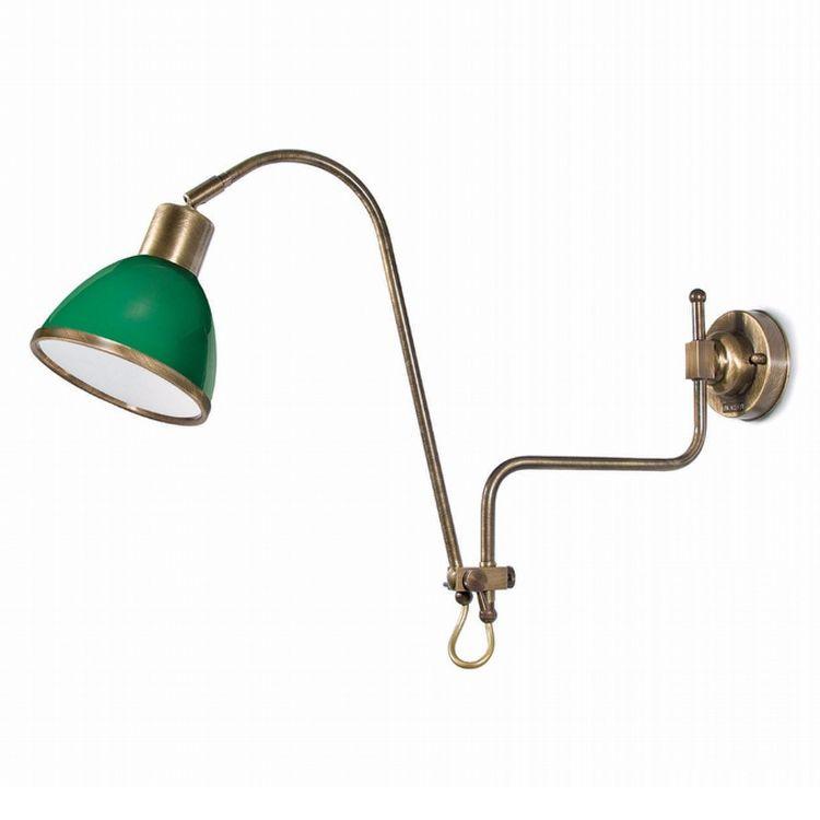 """Finish: Brass burnish (A); Glass: Green (8); cm.: max. H 38 x max. D 76 / inch.: max. H 15"""" x max. D 30""""; medium"""