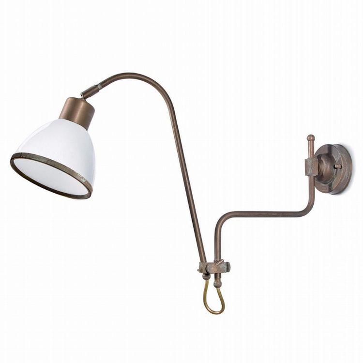 "Finish: Aged brass copper-coloured (AR); Glass: White (6); cm.: max. H 38 x max. D 76 / inch.: max. H 15"" x max. D 30""; medium"