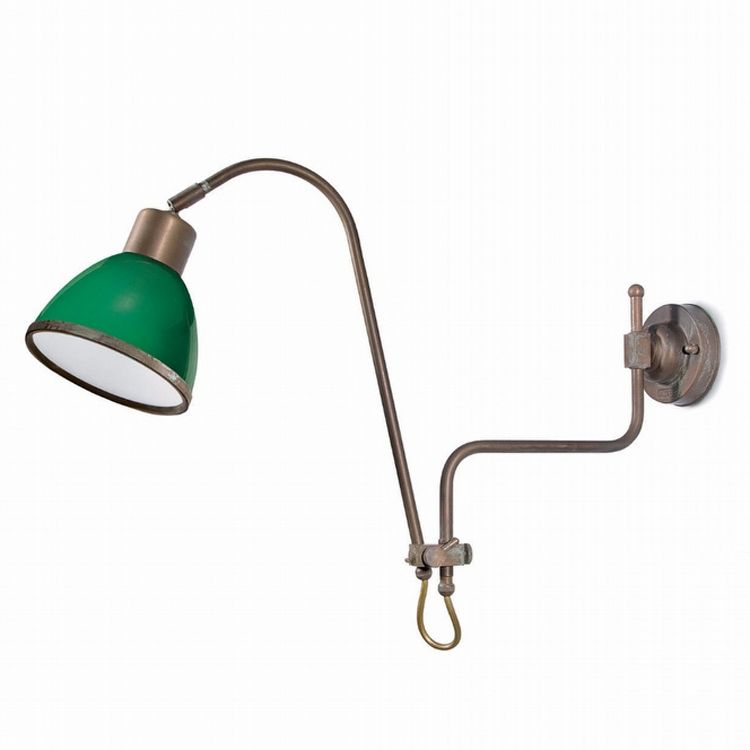 "Finish: Aged brass copper-coloured (AR); Glass: Green (8); cm.: max. H 38 x max. D 76 / inch.: max. H 15"" x max. D 30""; medium"