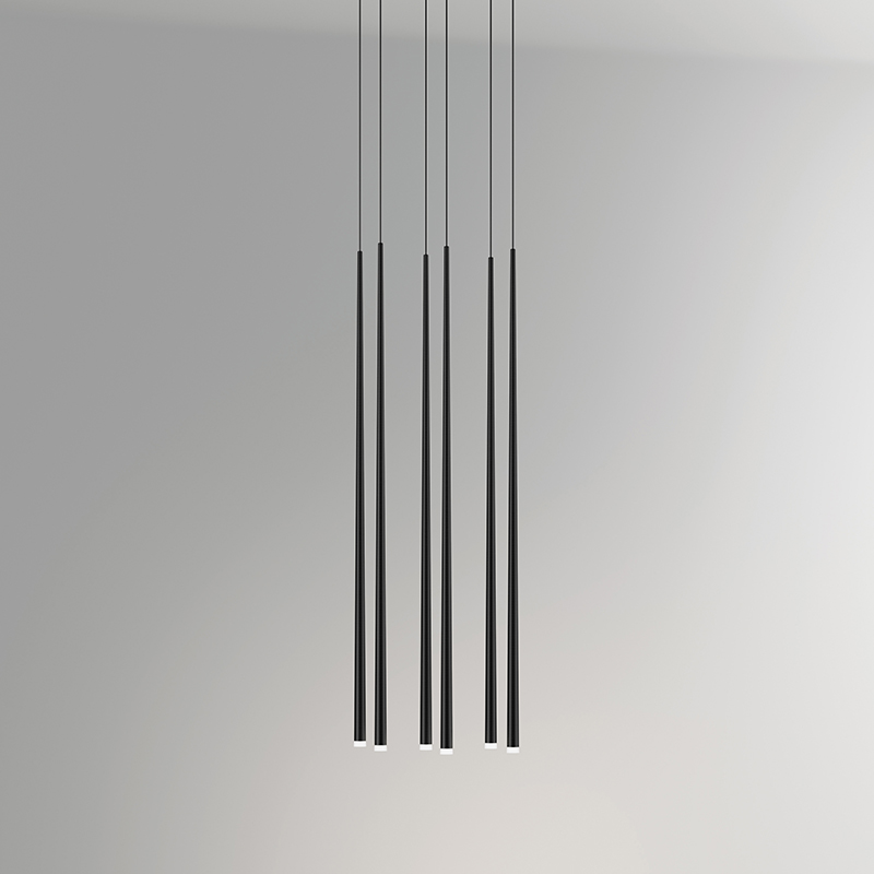 "Finish black carbon, 6 lights (cm.: 200 x 38 x 24 / inch.: 78.74"" x 14.96"" x 9.45"")"