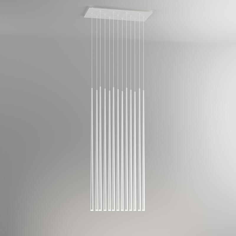 "Finish white lacquer, 13 lights (cm.: 200 x 53 x 26 / inch.: 78.74"" x 20.87"" x 10.24"")"
