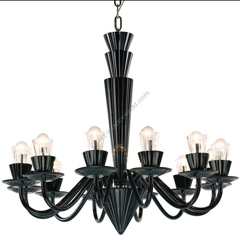 "Black Hyalit glass color, 12 lights (cm.: 80 x 90 x 90 / inch.: 31"" x 35"" x 35"")"